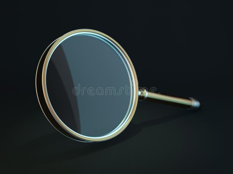 在黑暗的背景隔绝的放大镜 3d 向量例证