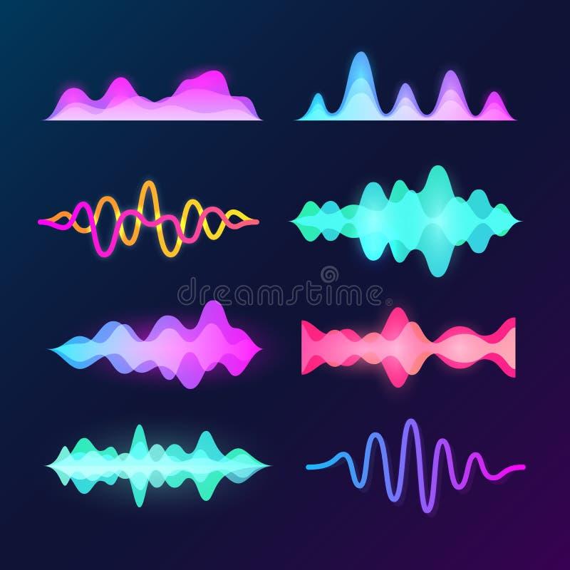 在黑暗的背景隔绝的明亮的颜色声音声音波浪 抽象信号波形、音乐脉冲和调平器波向量集合 向量例证