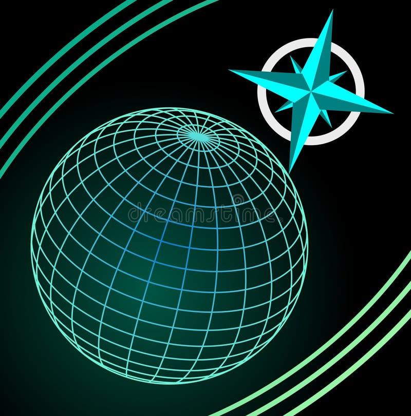 在黑暗的背景,主要方向symbole的Wireframe蓝色和绿色地球 库存照片