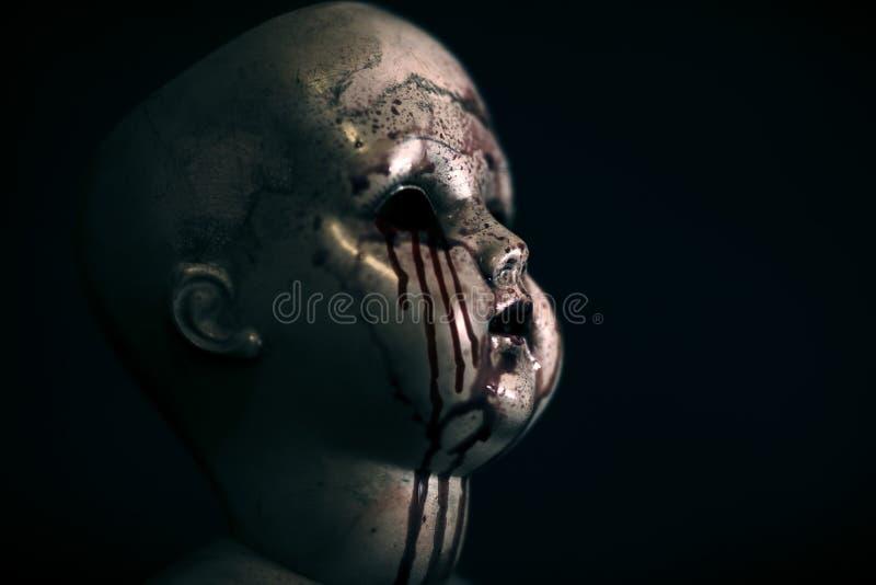 在黑暗的蠕动的血淋淋的玩偶 库存图片