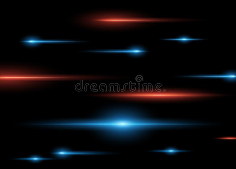 在黑暗的被隔绝的背景的抽象蓝色和红色水平的明亮的光芒 传染媒介光线影响 向量例证