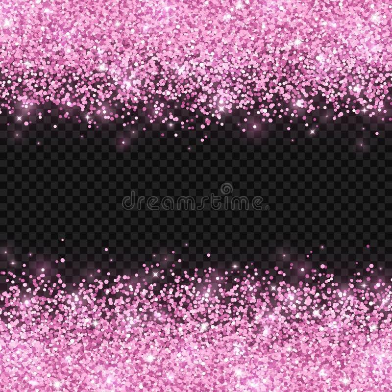 在黑暗的透明背景的桃红色闪烁 向量 库存例证