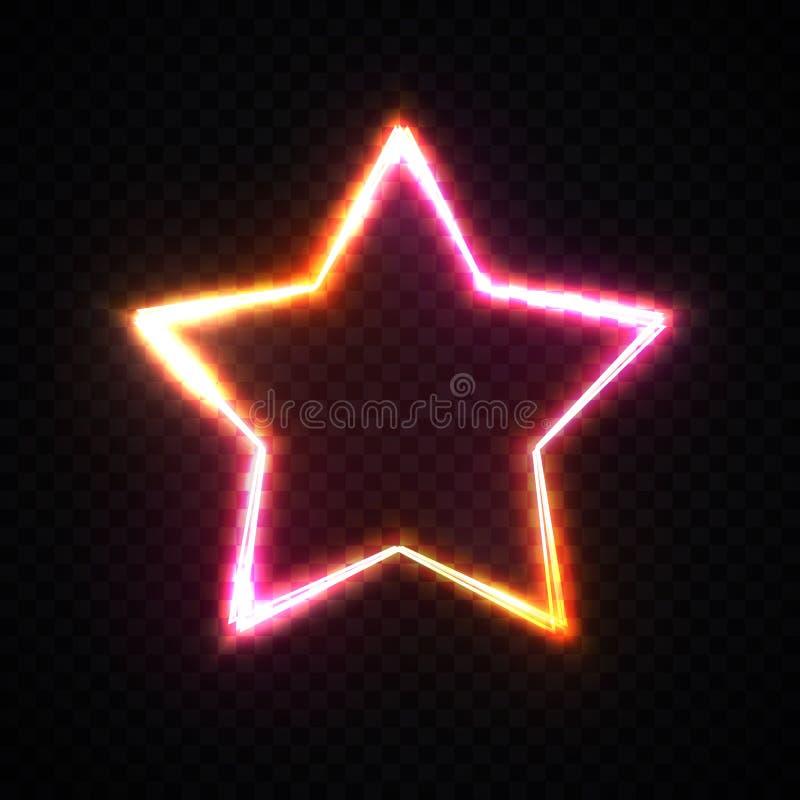 在黑暗的透明背景的红色和黄色星框架与您的文本的空间 发光的霓虹灯边界 库存例证