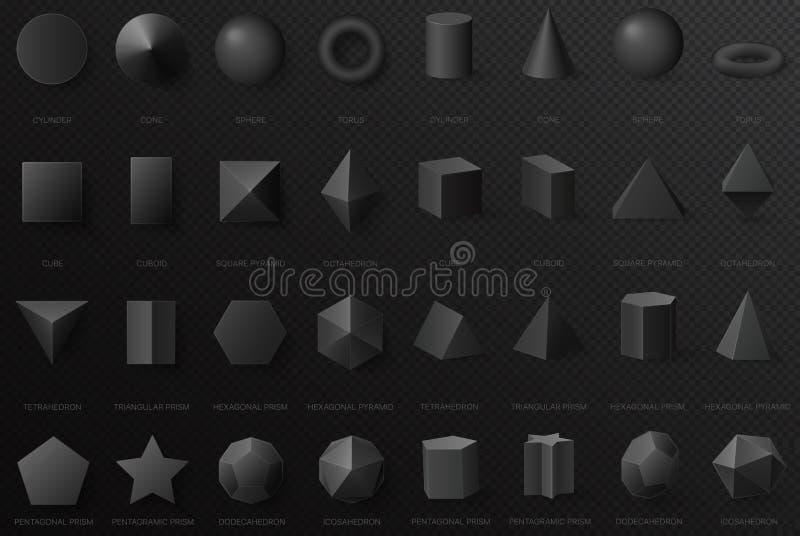 在黑暗的阿尔法transperant背景隔绝的顶面和正面图的现实黑基本的几何3d形状 库存例证