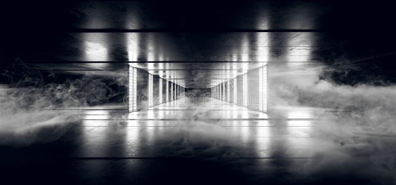 在黑暗的难看的东西具体地板隧道带领的烟雾科学幻想小说网络未来派外籍人船舞蹈光氖发光的白色激光 向量例证