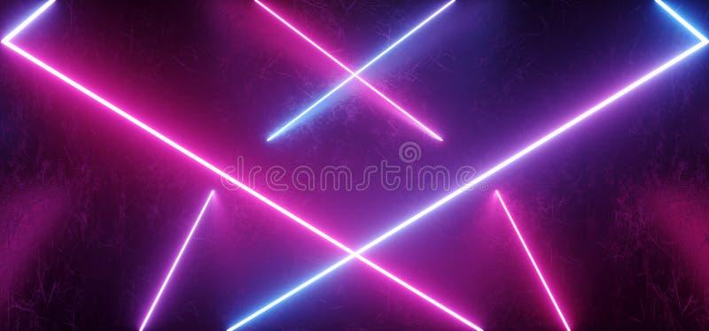 在黑暗的难看的东西金属的科学幻想小说外籍人未来派现代减速火箭的霓虹发光的抽象形状梯度蓝色桃红色紫色形状抓了 库存例证