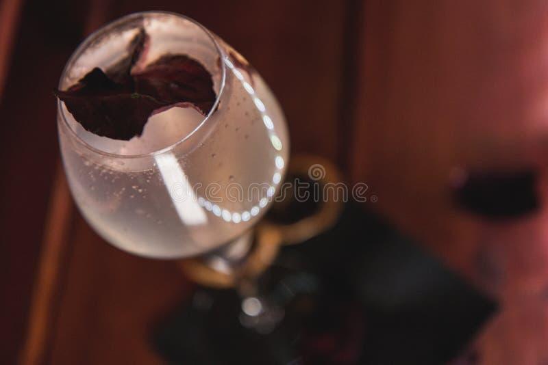 在黑暗的餐巾和木头,顶视图的白色cockatil 库存照片