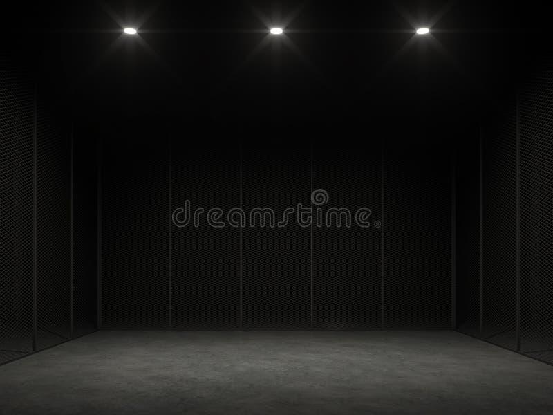 在黑暗的3d的一只空的笼子回报 皇族释放例证