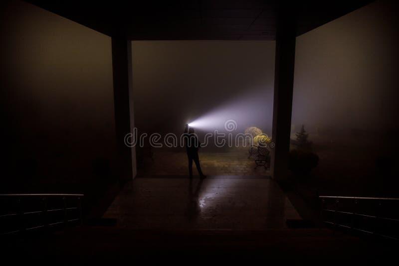 在黑暗被放弃的大厦的蠕动的剪影 有橱门的黑暗的与鬼的恐怖剪影的走廊和光每 免版税库存照片