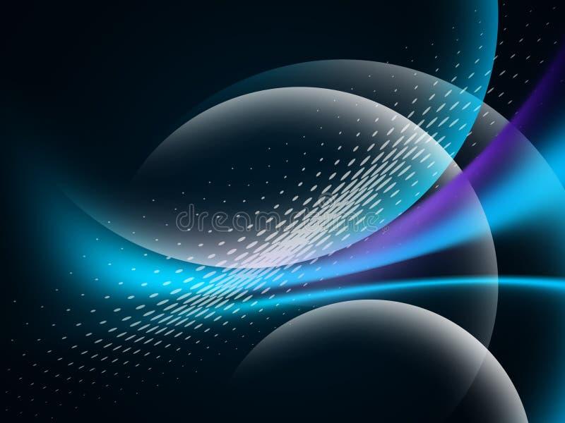 在黑暗,发光的行动,不可思议的空间光的发光的抽象波浪 Techno摘要背景 向量例证