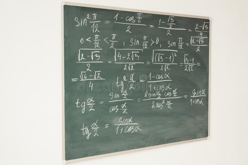 在黑板写的数学惯例 学校,教训,教育 图库摄影