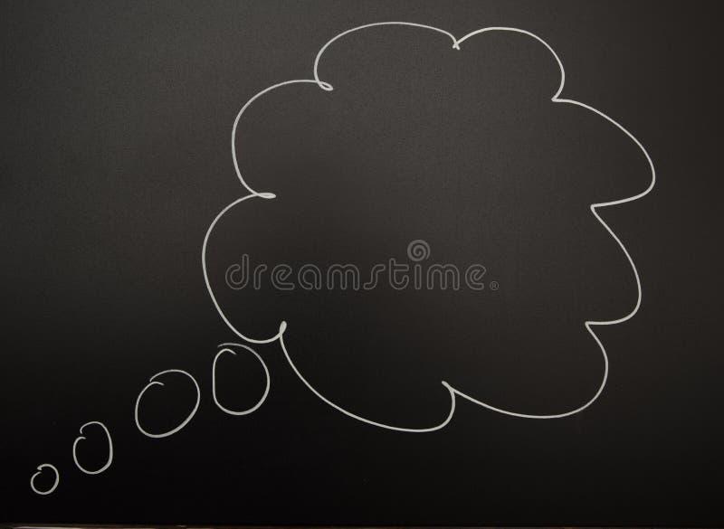 在黑板或黑板的拉长的想法泡影 免版税库存照片