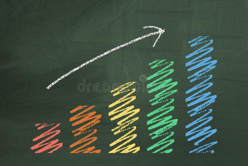 在黑板的五颜六色的企业图 库存图片