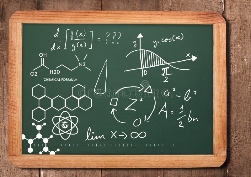在黑板的化学科学惯例 免版税库存照片