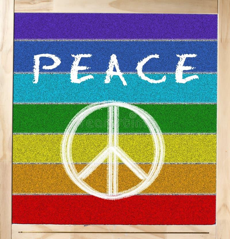 在黑板的和平标志 库存照片