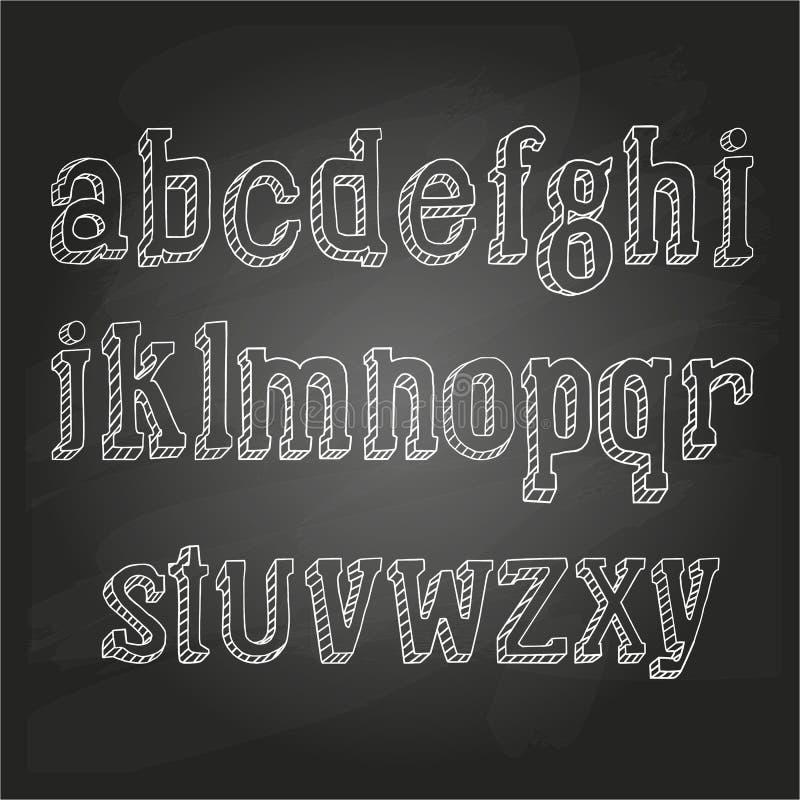 在黑板的小字母 向量例证