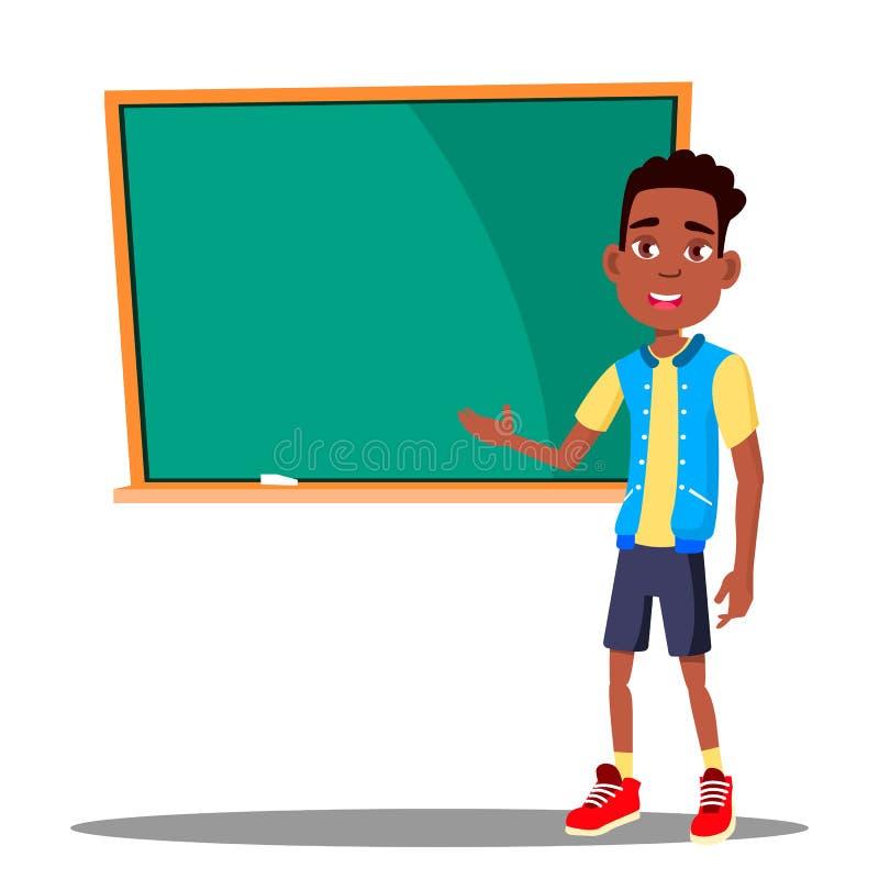在黑板的小男孩答复在教室传染媒介 美国黑人 学校 按钮查出的现有量例证推进s启动妇女 皇族释放例证