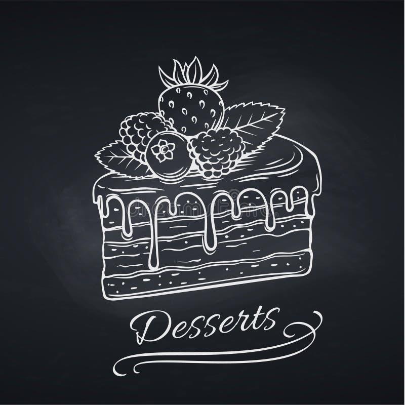 在黑板的手拉的蛋糕 库存例证