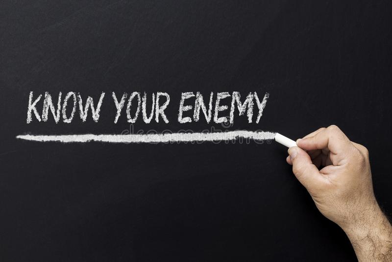 在黑板的手文字-认识您的敌人 免版税库存照片