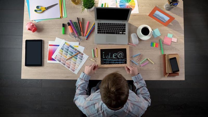 在黑板的激动的人文字想法,有很多启发开始工作日 库存照片