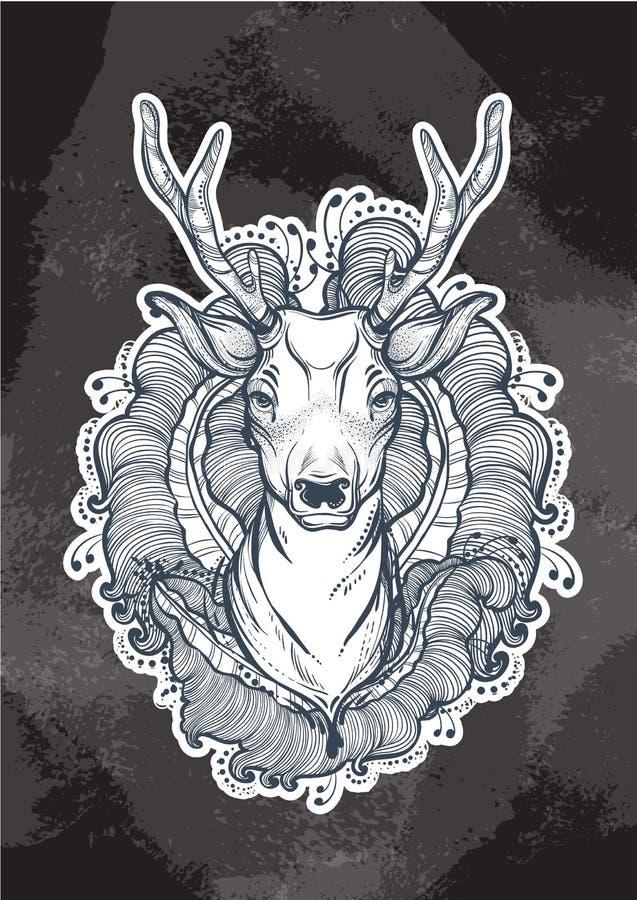 传染媒介用花卉elementss装饰的鹿头 精神艺术,瑜伽图片