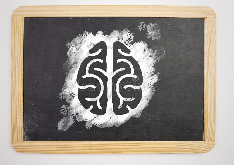 在黑板的脑子象 库存图片