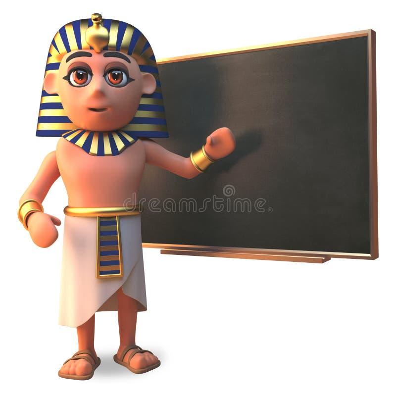 在黑板的3d Tutankhamun法老王埃及字符教学,3d例证 向量例证