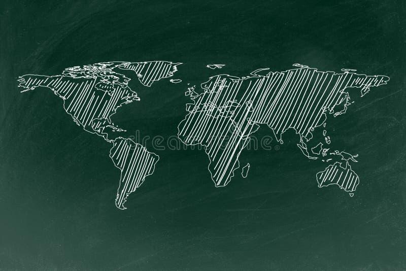 在黑板纹理背景的世界地图图画 库存例证