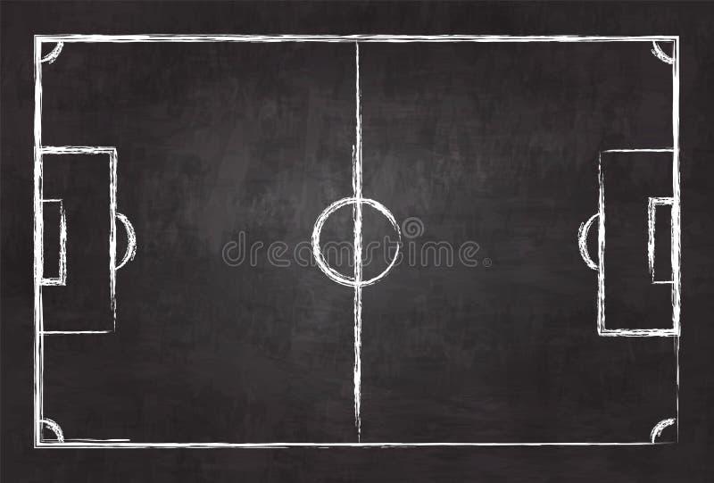 在黑板纹理背景的现实例证橄榄球或足球场 国际世界冠军游览的图象 库存例证