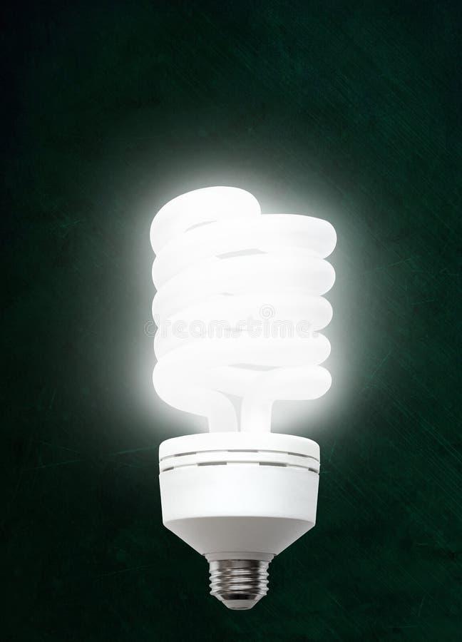 在黑板背景的有启发性CFL协定荧光灯电灯泡 免版税图库摄影