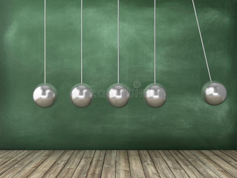 在黑板背景的牛顿的摇篮 向量例证