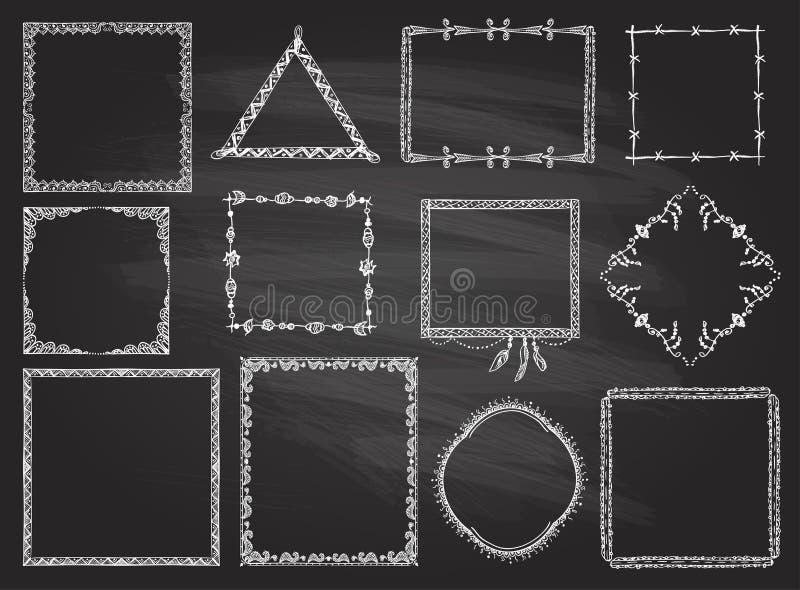 在黑板设置的时尚手拉的框架 向量例证
