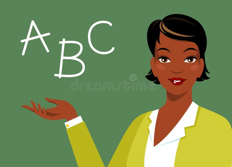 在黑板附近的美丽的非裔美国人的种族妇女老师 皇族释放例证