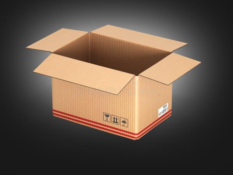 在黑梯度背景3d的开放纸板箱 库存例证