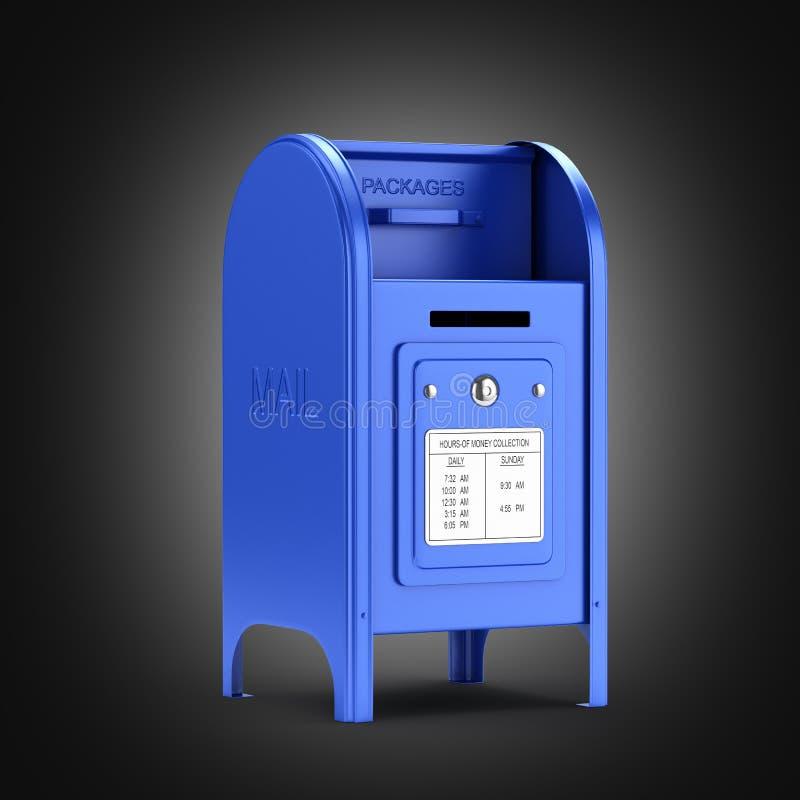 在黑梯度背景3d的深蓝邮箱 皇族释放例证