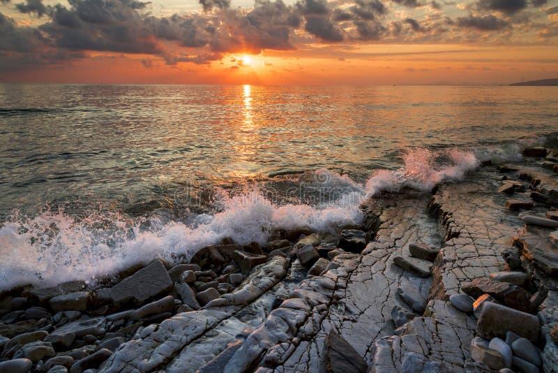 在黑海海岸的日落 图库摄影