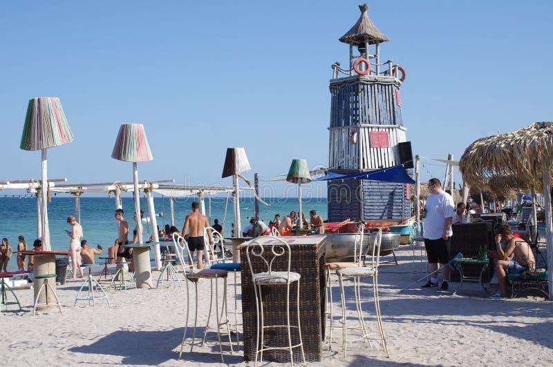 在黑海海岸的海滩酒吧 免版税库存图片