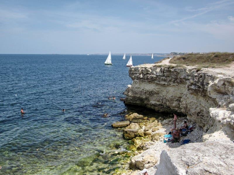 在黑海海岸的海角Hersones 库存图片
