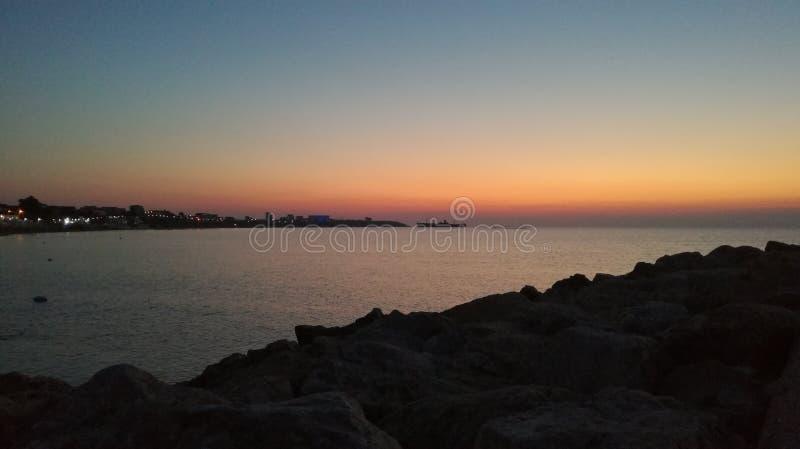 在黑海的日出在罗马尼亚 库存图片