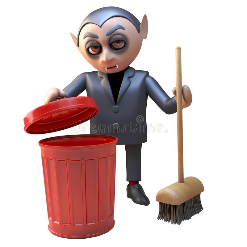 在黑清洁的整洁的德雷库拉吸血鬼字符与一把红色垃圾箱和笤帚,3d例证 库存例证