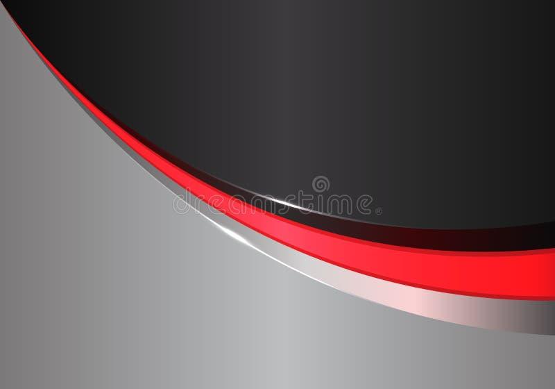 在黑灰色设计现代未来派背景传染媒介的抽象红线曲线 库存例证