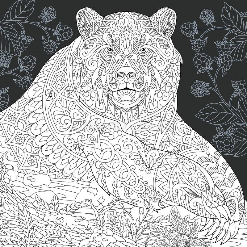 在黑白样式的熊 皇族释放例证