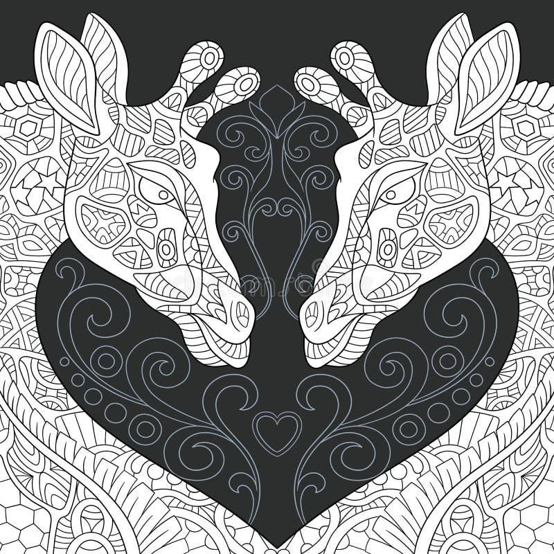在黑白样式的长颈鹿 库存例证