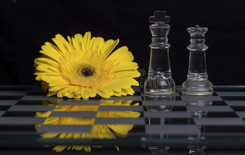 在黑白玻璃棋盘的黄色花有国王的和 免版税库存图片