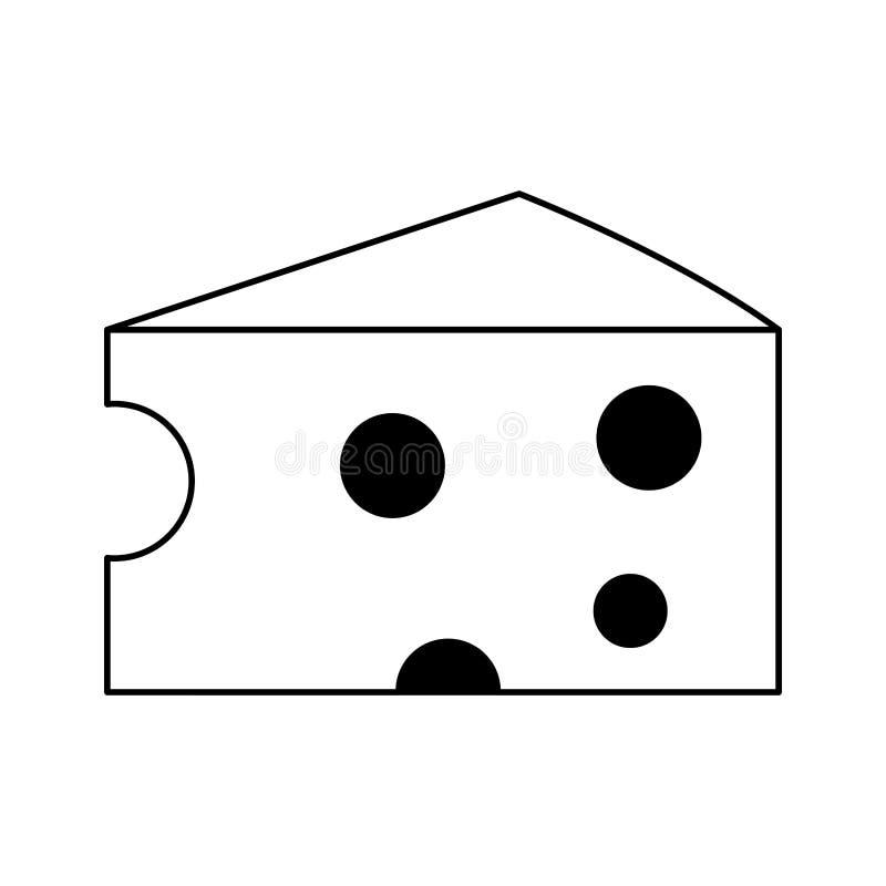 在黑白的乳酪日志食物被隔绝的动画片 皇族释放例证