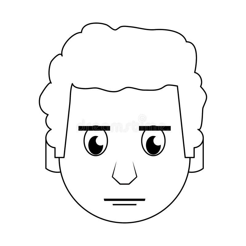 在黑白的人面孔顶头字符动画片 库存例证
