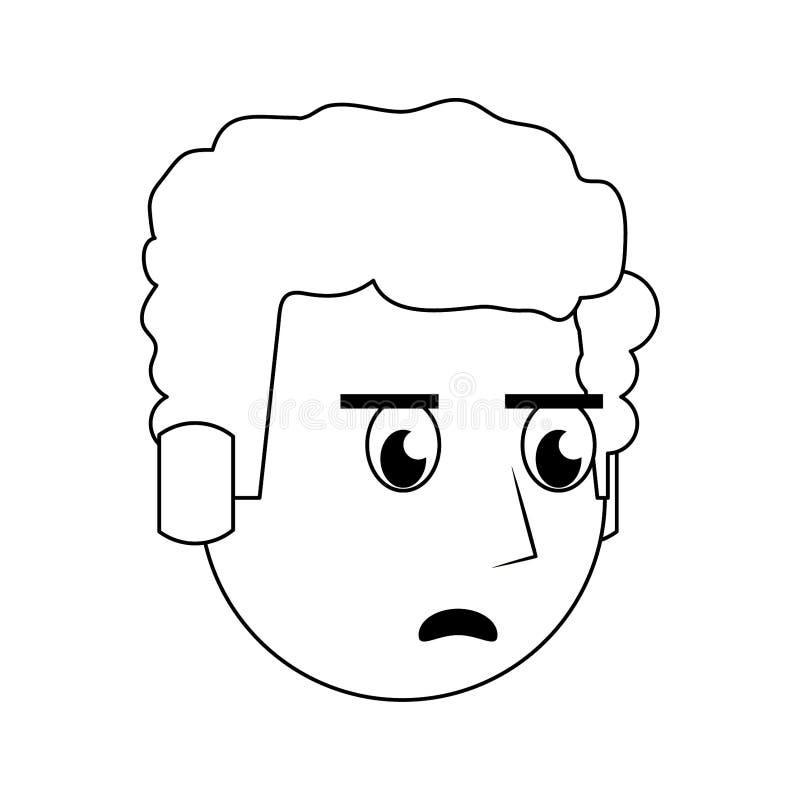 在黑白的人面孔顶头字符动画片 皇族释放例证
