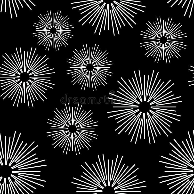 在黑白的传染媒介无缝的样式圈子摘要线 皇族释放例证