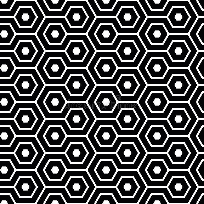 在黑白的典雅的蜿蜒的六角形 几何传染媒介无缝的样式 抽象蜂窝设计 伟大为 向量例证