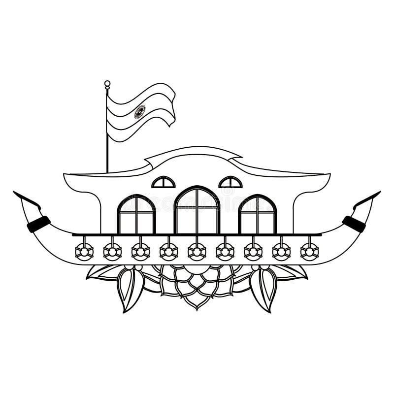 在黑白的印度恒河驳船象动画片 库存例证
